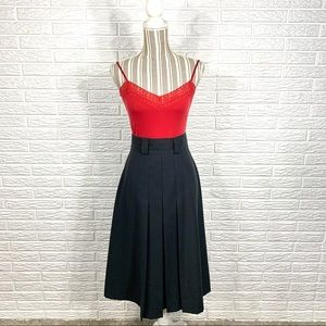 Vintage Sag Harbor Black High Waisted Midi Skirt